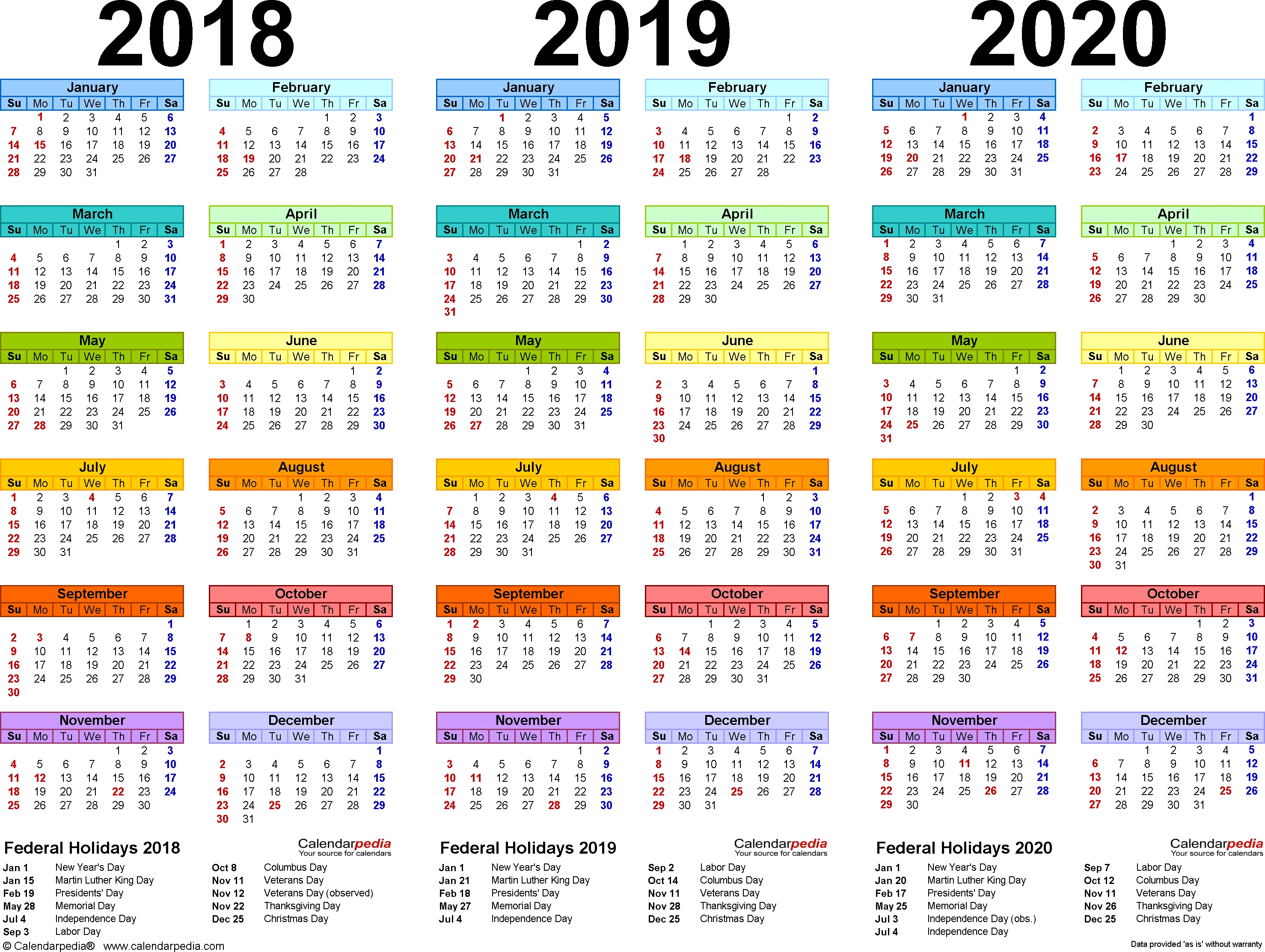 2018/2019/2020 Calendar - 4 Three-Year Printable Pdf Calendars 3 Year Calendar 2020