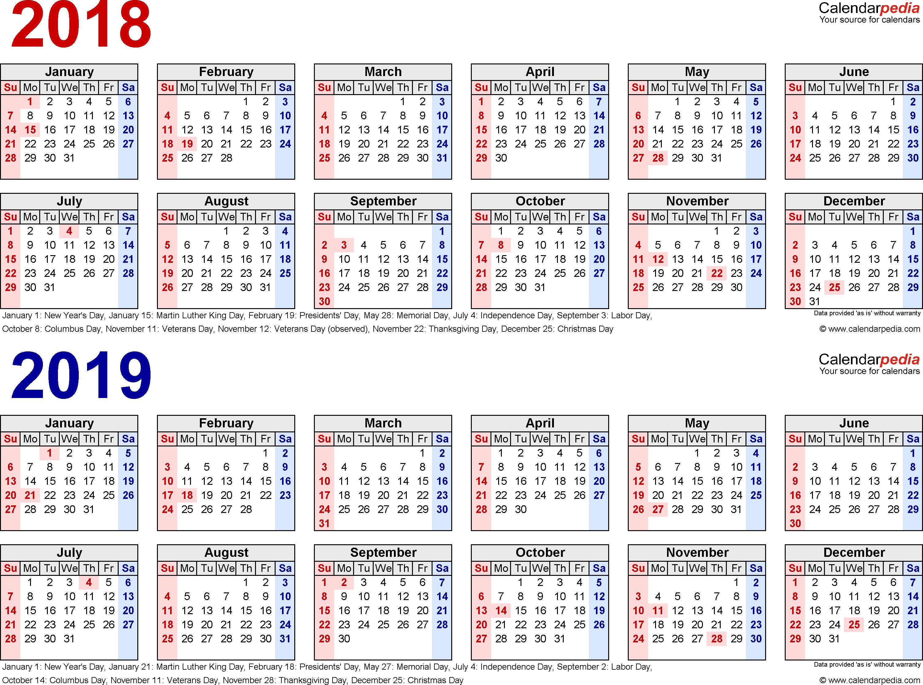 2018-2019 Calendar - Free Printable Two-Year Excel Calendars Remarkable Calendar Template School Year 2019-18