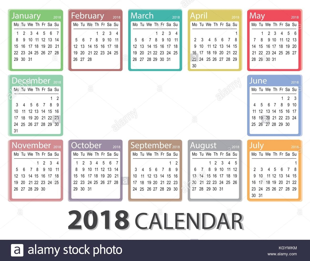 2018 Year Calendar, Week Starts On Monday, Monthly Calendar Template 5 Year Monthly Calendar