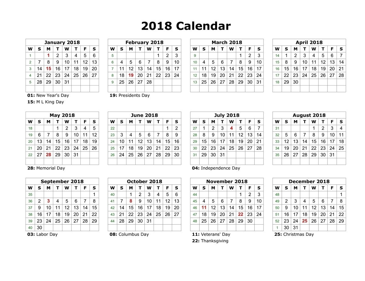 2018 Yearly Calendars With Holidays | Activity Shelter Year Calendar With Holidays