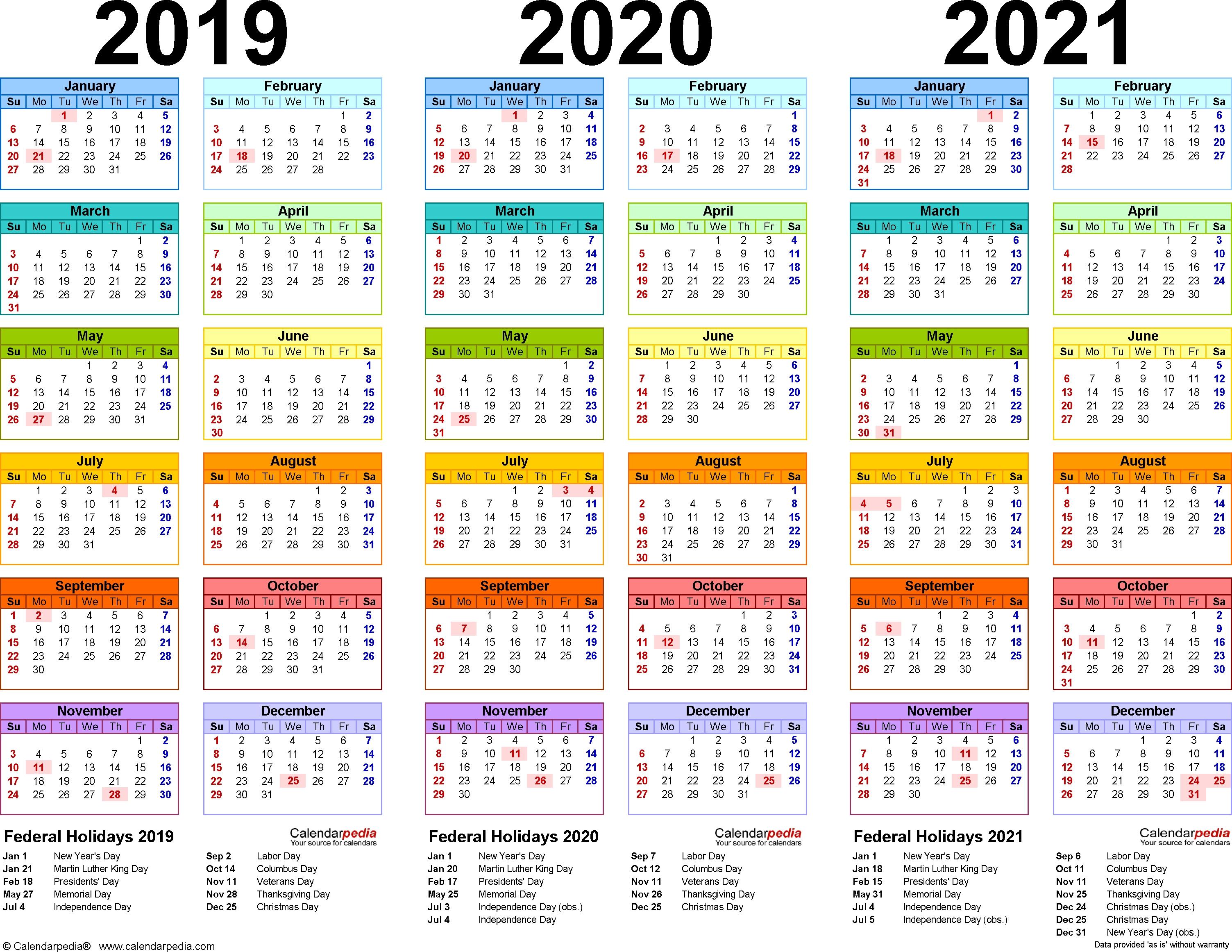 2019/2020/2021 Calendar - 4 Three-Year Printable Pdf Calendars 2020 Holiday Calendar Tamilnadu