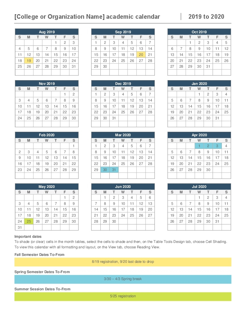 2019-2020 Academic Calendar Remarkable 2020 Calendar Printable Word