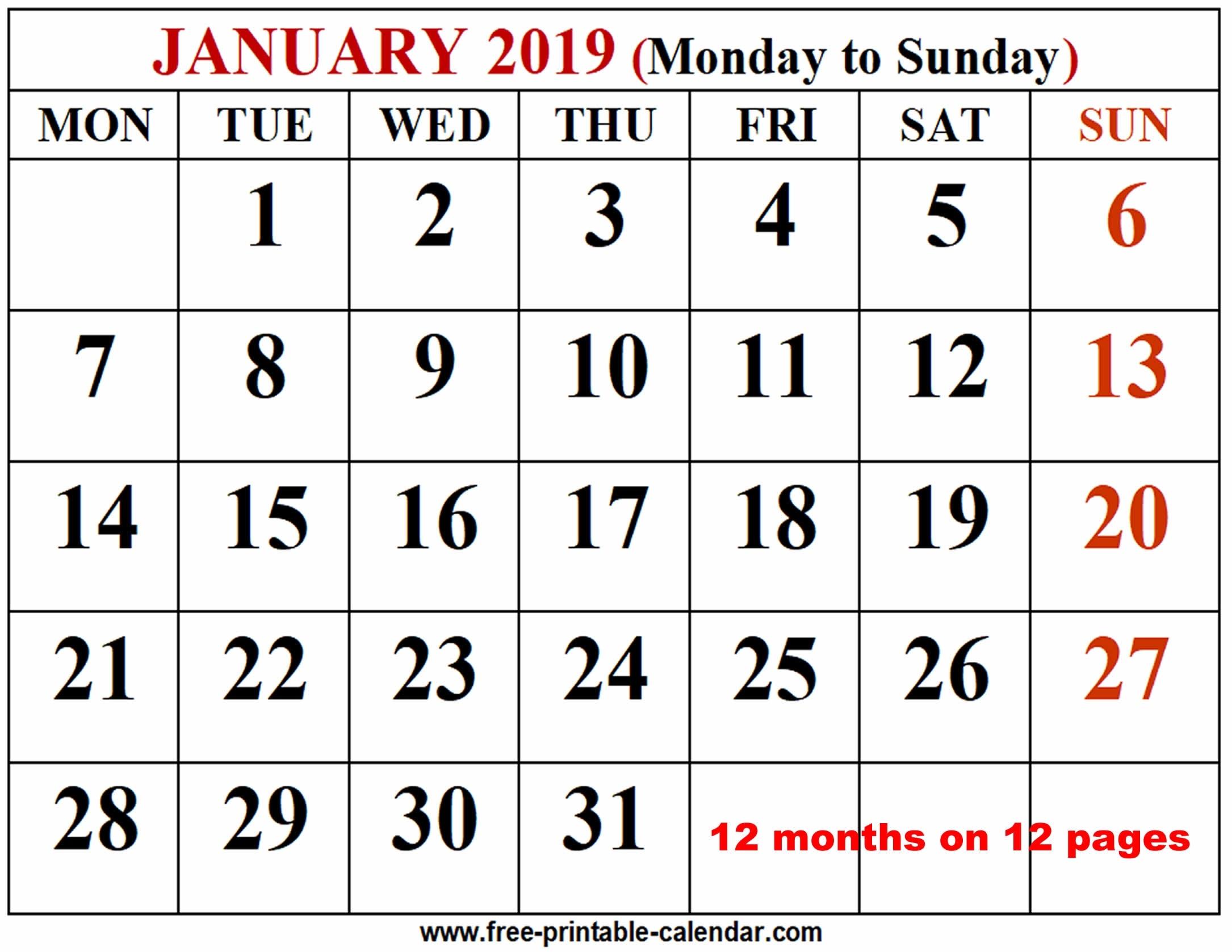 2019 Calendar Template - Free-Printable-Calendar Free Printable Calendar By Month
