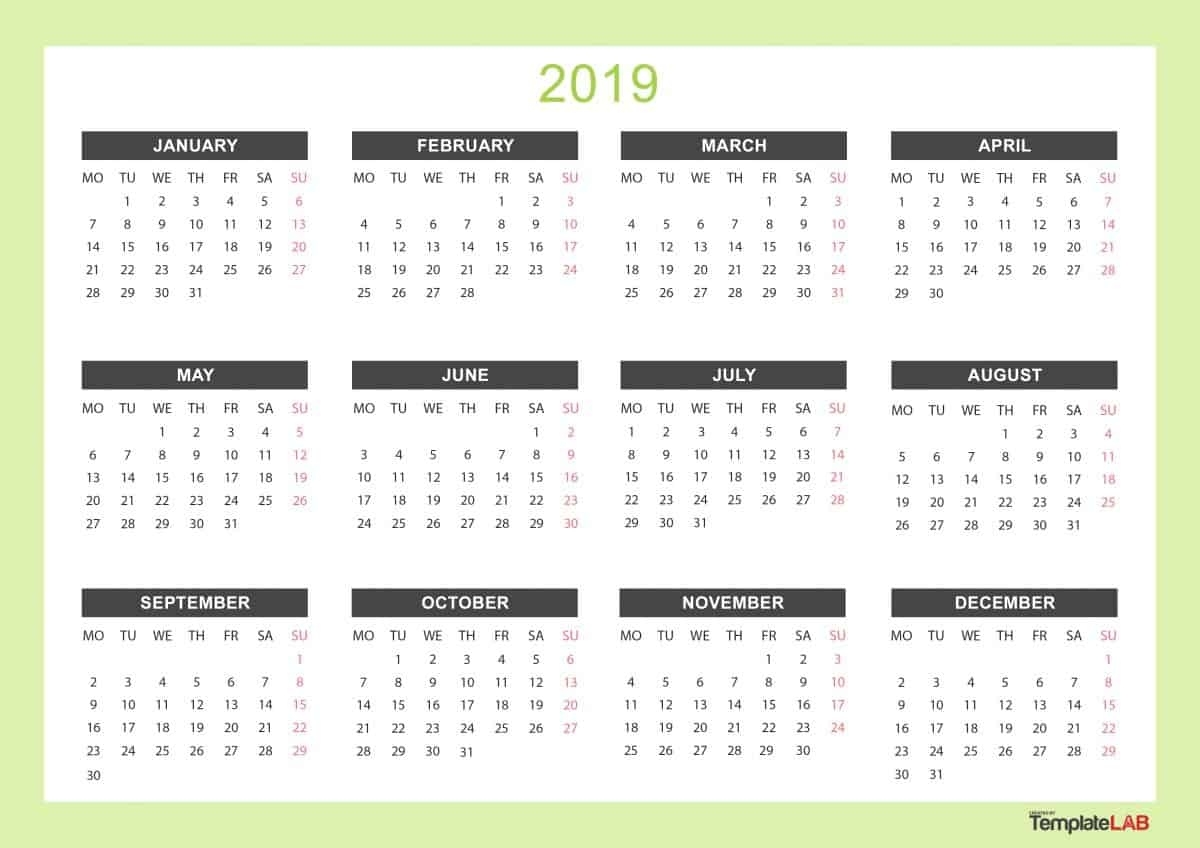 2019 Printable Calendars [Monthly, With Holidays, Yearly] ᐅ Year Calendar With Holidays