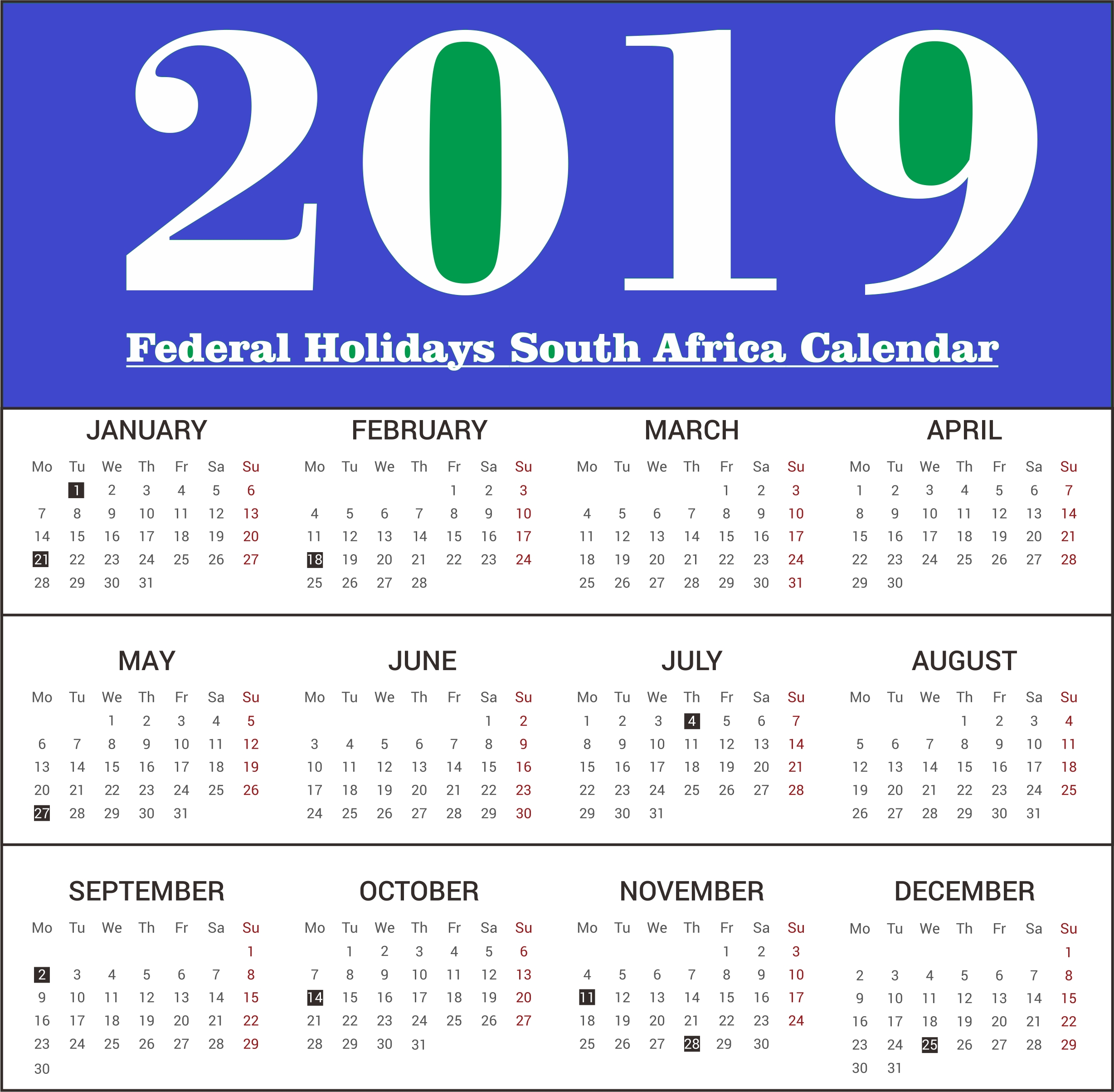 2019 South Africa Federal Holidays Calendar #southafrica #calendar Calendar Printing South Africa