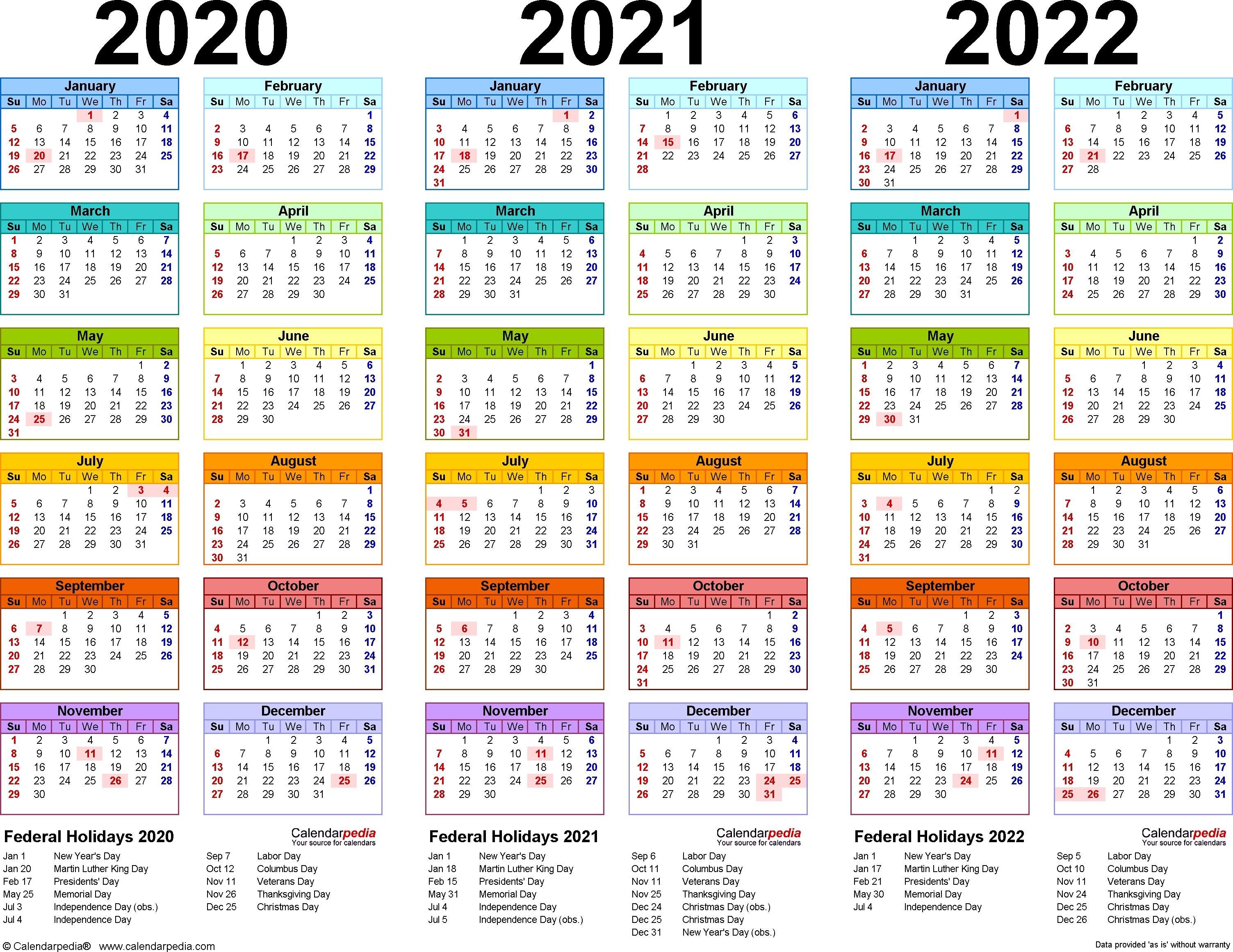 2020/2021/2022 Calendar - 4 Three-Year Printable Pdf Calendars 3 Year Calendar 2020