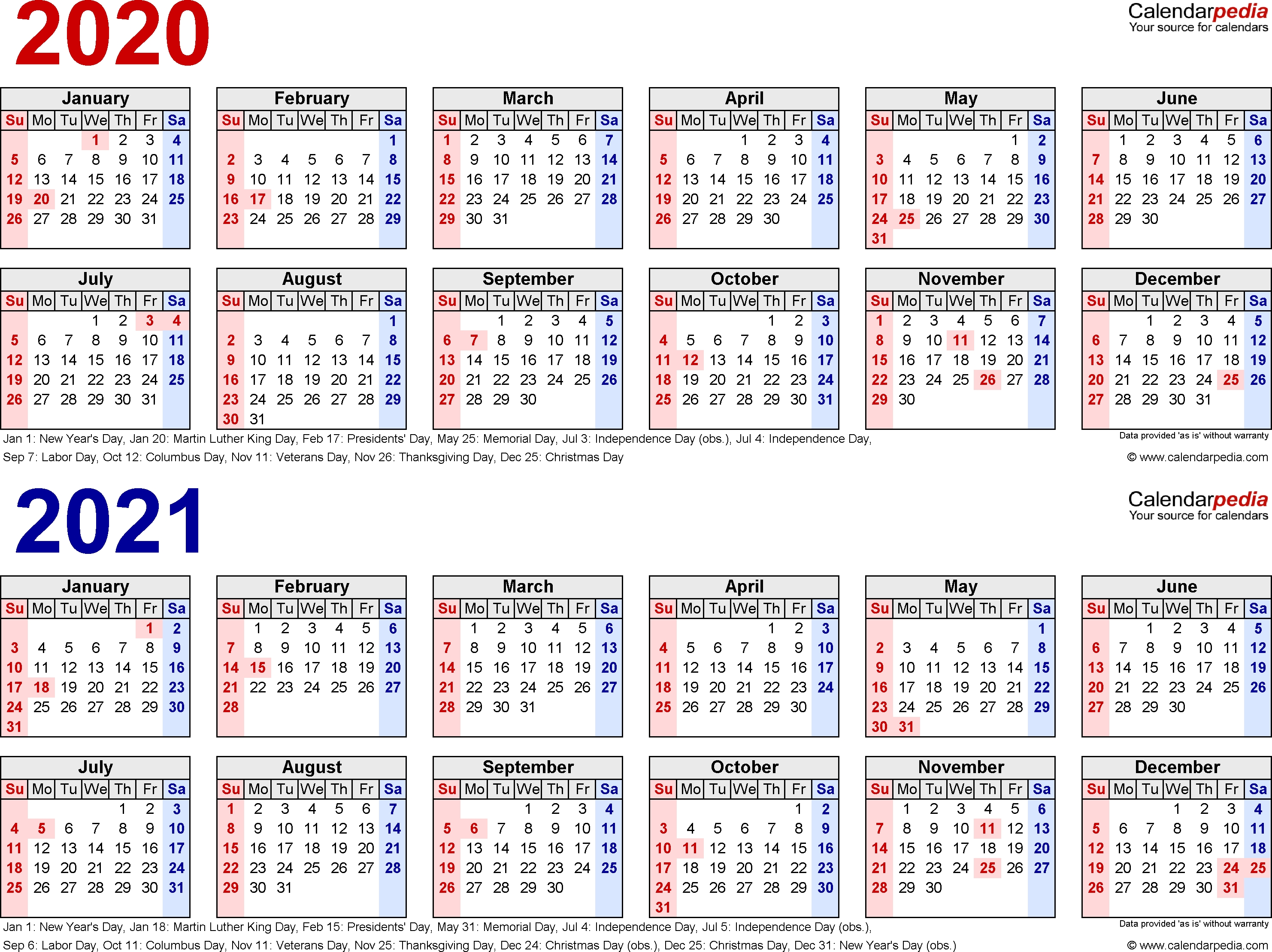 2020-2021 Calendar - Free Printable Two-Year Excel Calendars 3 Year Calendar 2020