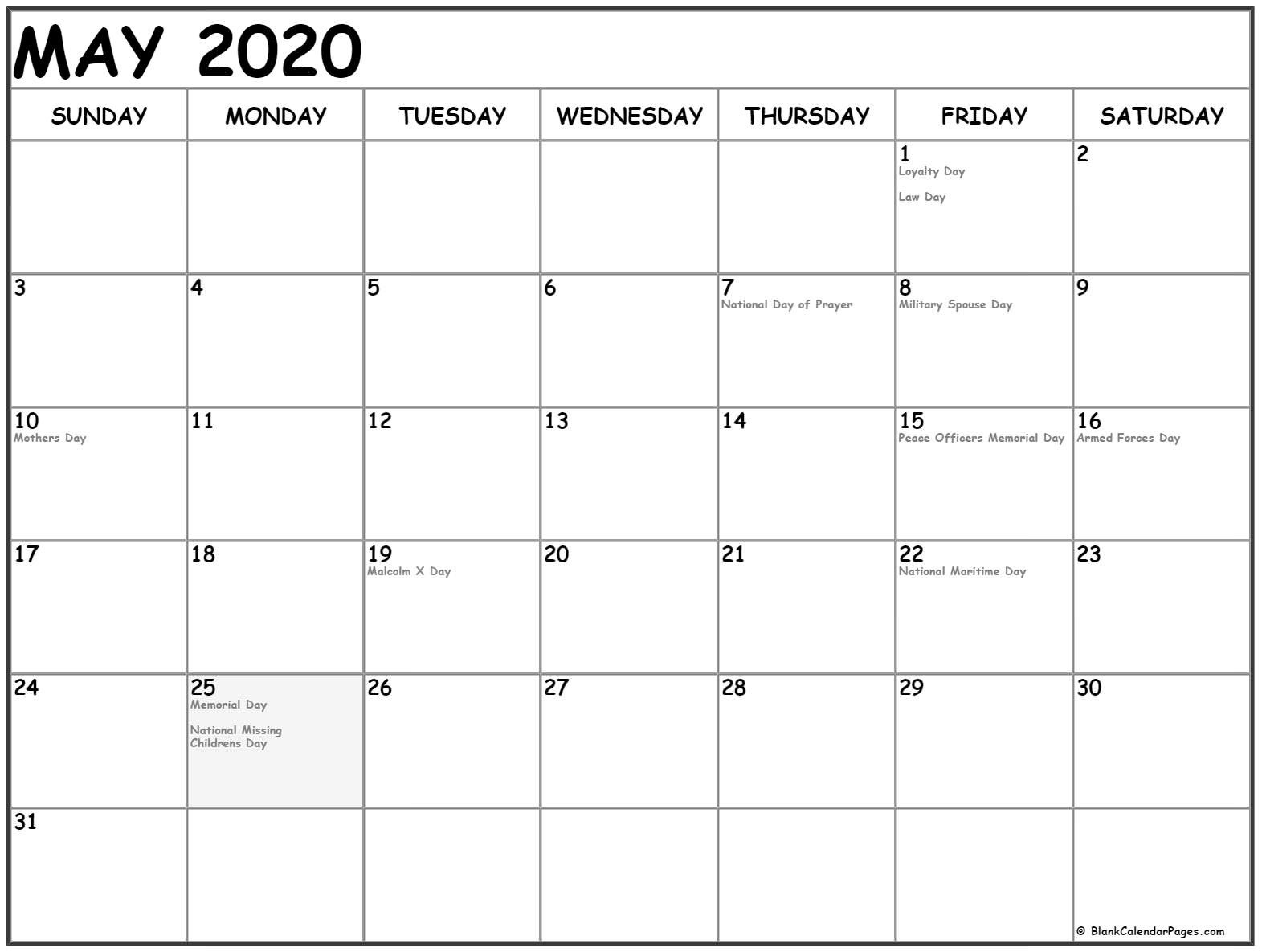 2020 Printable Calendar By Month With Holidays May 2020 Calendar Dashing 2020 Calendar With Holidays