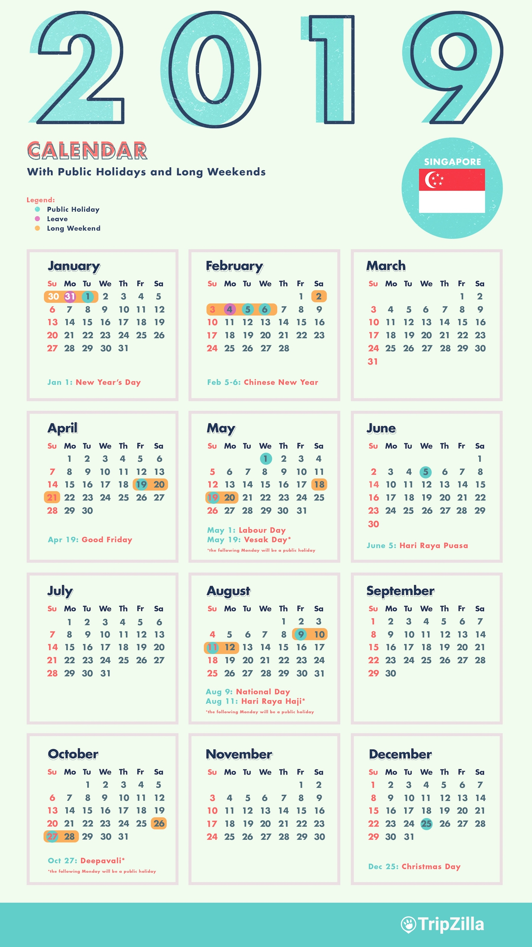 6 Long Weekends In Singapore In 2019 (Bonus Calendar & Cheatsheet) Iphone 5 Calendar Public Holidays