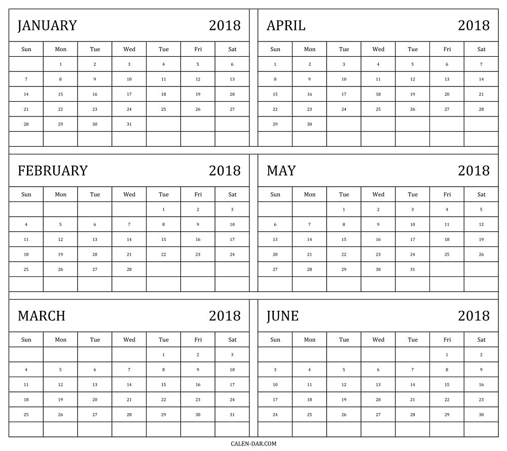 6 Month Calendar Template 2018 2 Within Six Month Calendar Template Free Calendar 6 Month