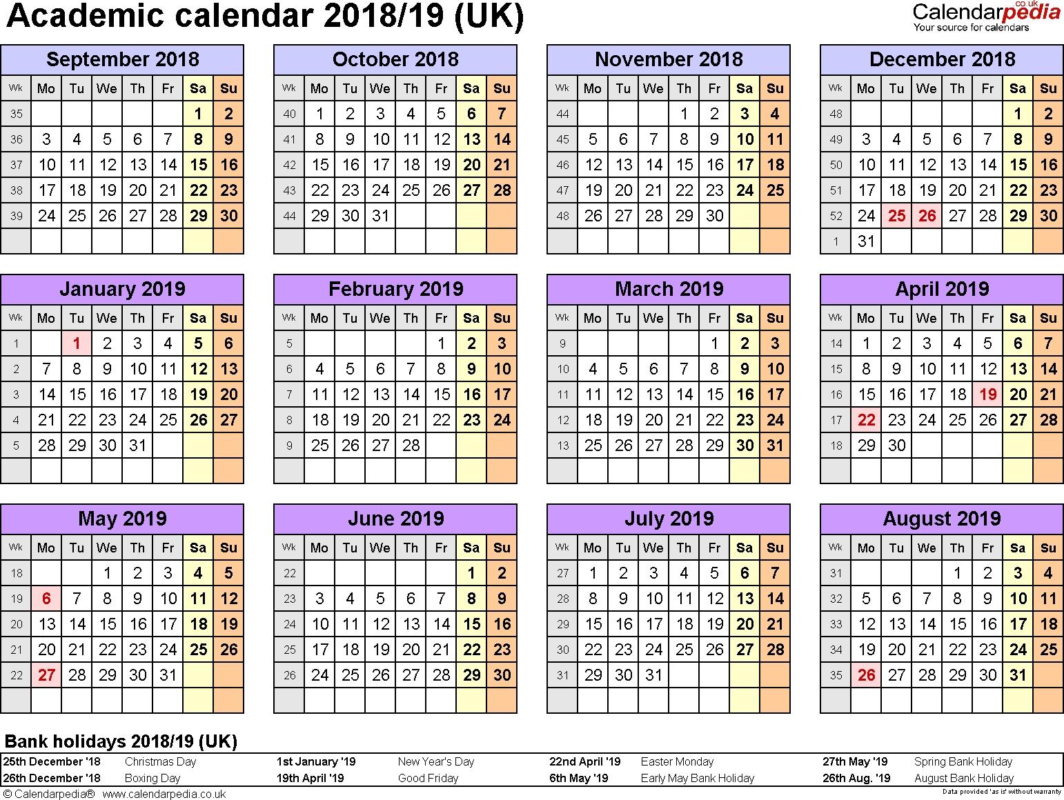 Academic Calendars 2018/2019 As Free Printable Word Templates Calendar Template School Year 2019-18