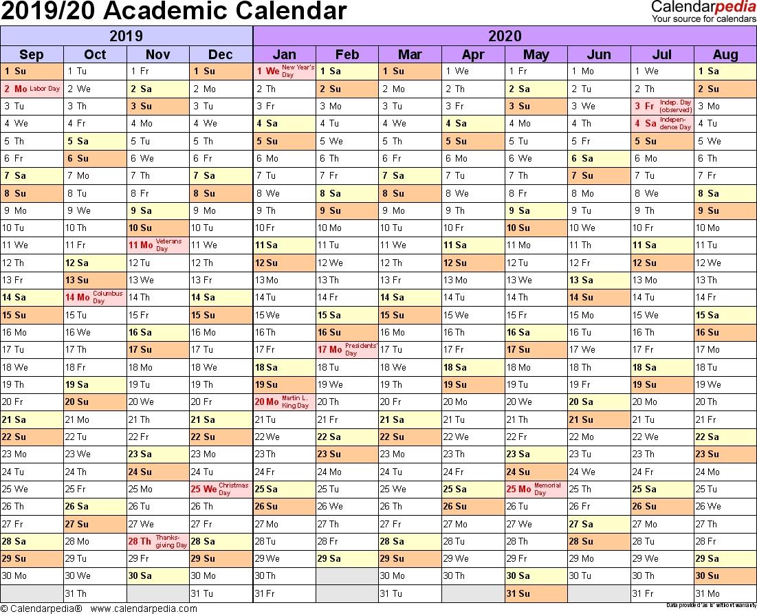 Academic Calendars 2019/2020 - Free Printable Word Templates 2020 Calendar In Word