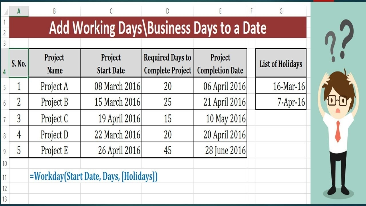 Add Weekdays In A Date Excluding Weekends - Workday Function To Add Calendar Countdown Excluding Weekends