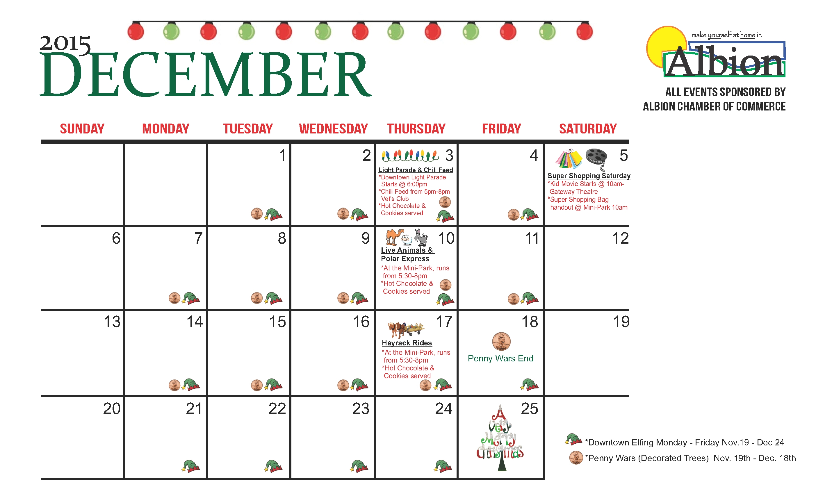Albion Economic Development » Albion Chamber 2015 Holiday Calendar Calendar With Holidays And Events