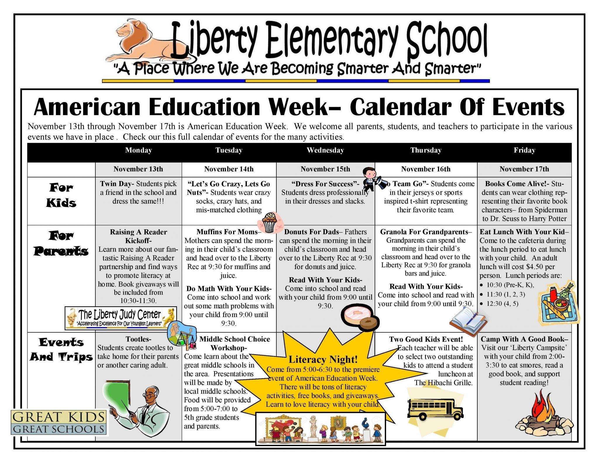 American Education Week Calendar – Child First Authority, Inc. School Calendar Baltimore City