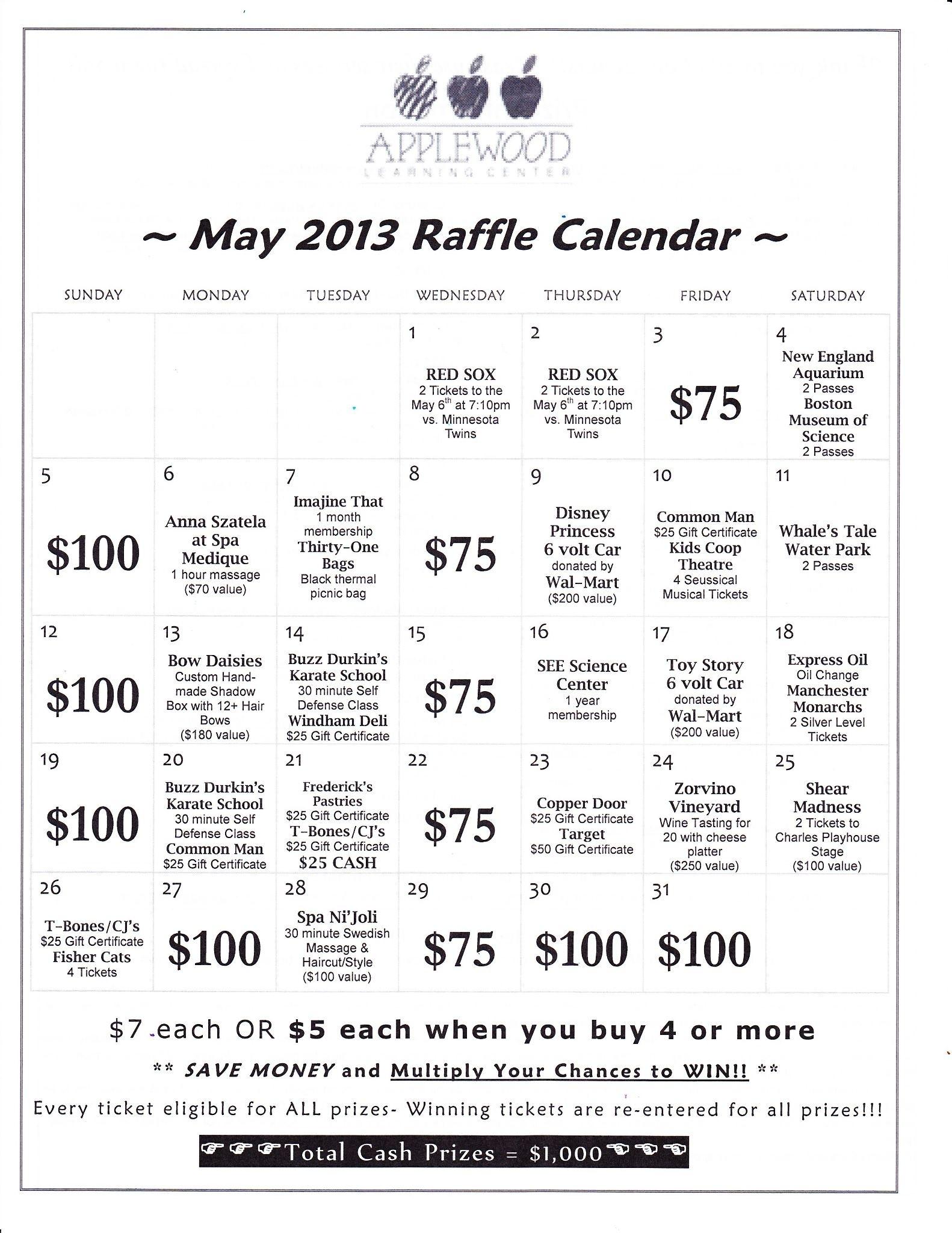 Annual Raffle Calendar Fundraiser | Applewood Learning Center Cash Calendar Raffle Template