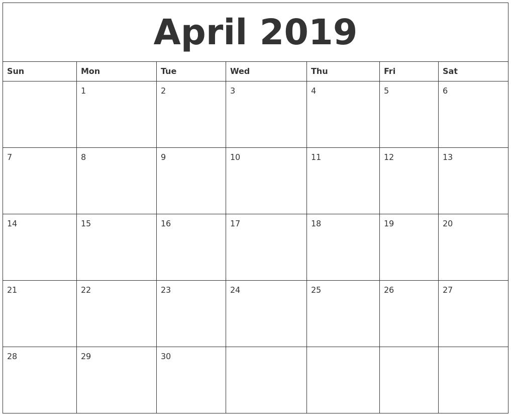 April 2019 Calendar 11X8.5 | Printable Monthly Calendar Templates 5 Month Calendar Template