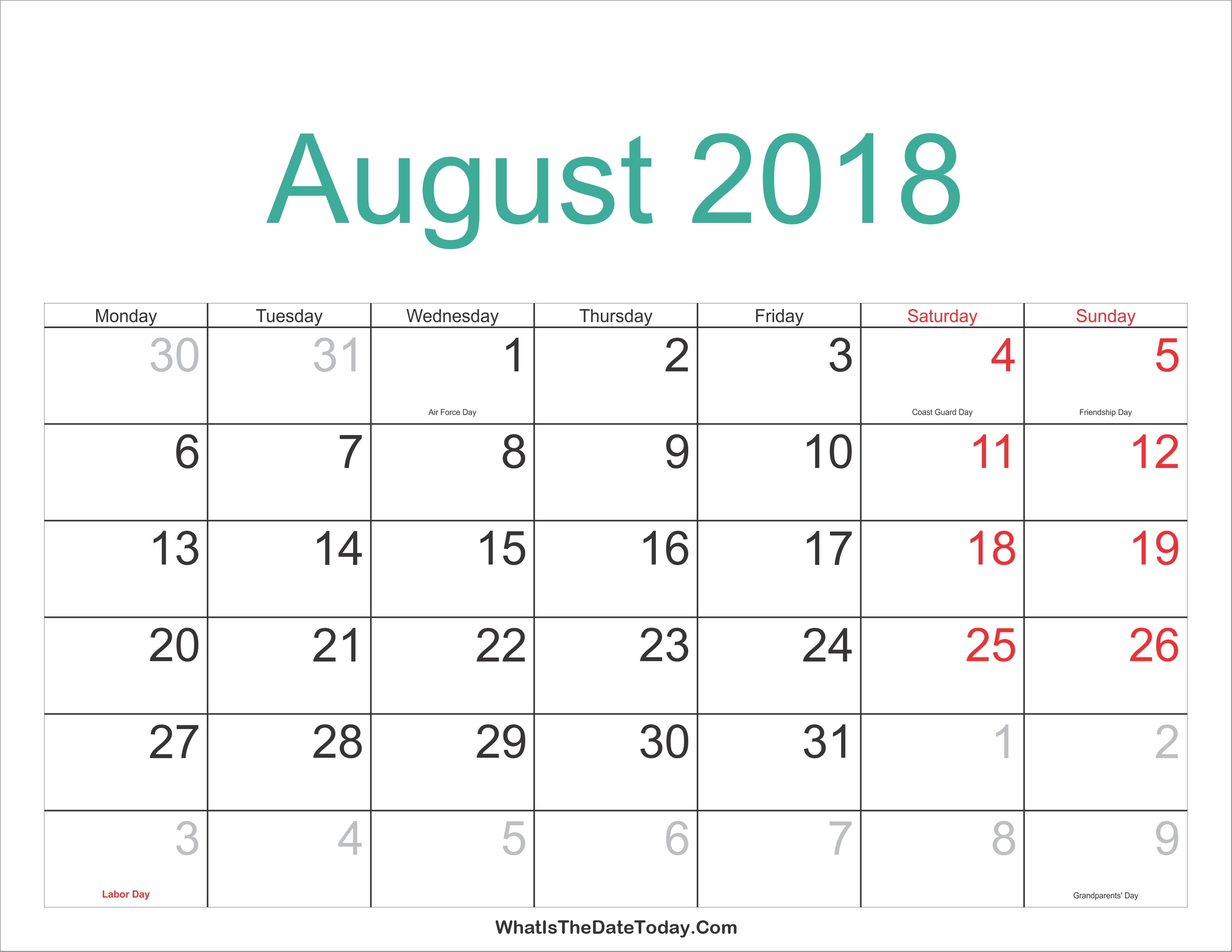 August-2018-Calendar-Philippines-Holidays-And-Events-Free-August Calendar With Holidays And Events