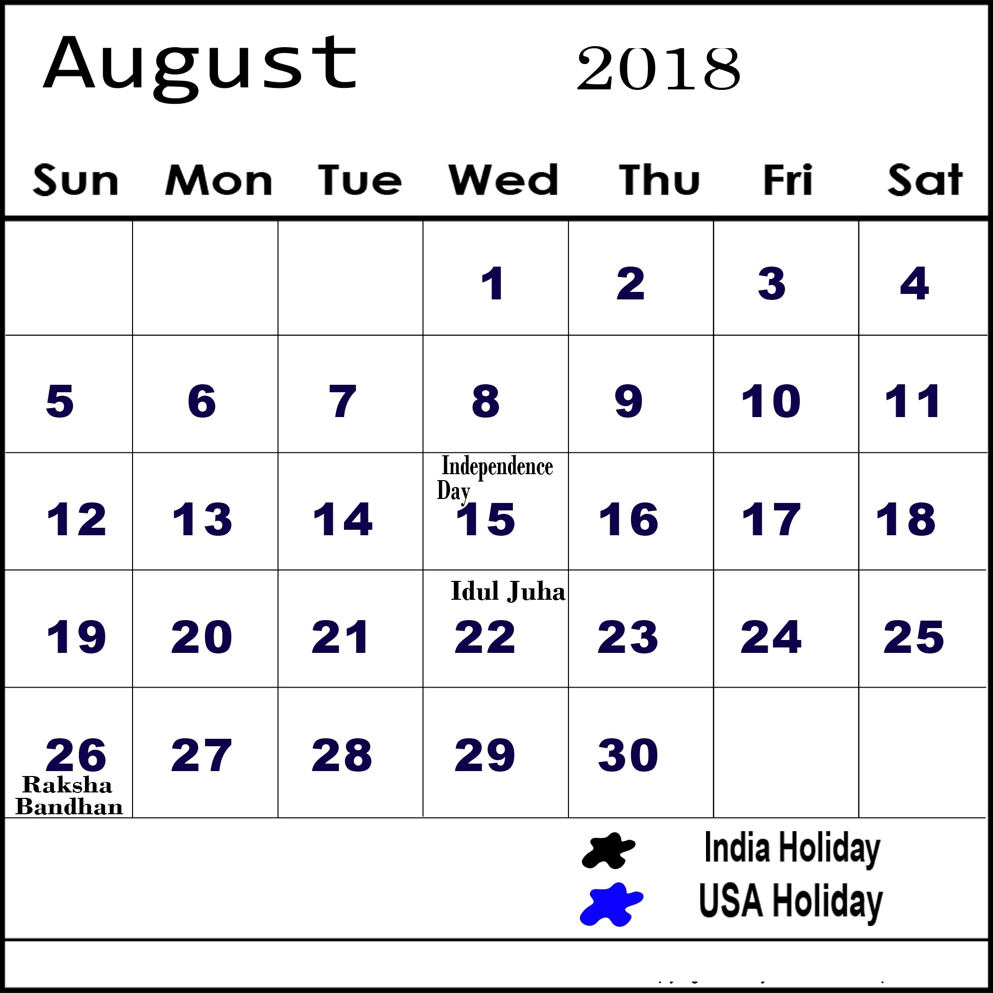 August 2018 Calendar With Daily Holidays And Events Calendar With Holidays And Events
