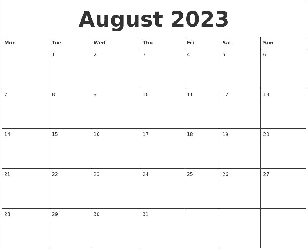 August 2023 Print Online Calendar Online Calendar Printing With Photos