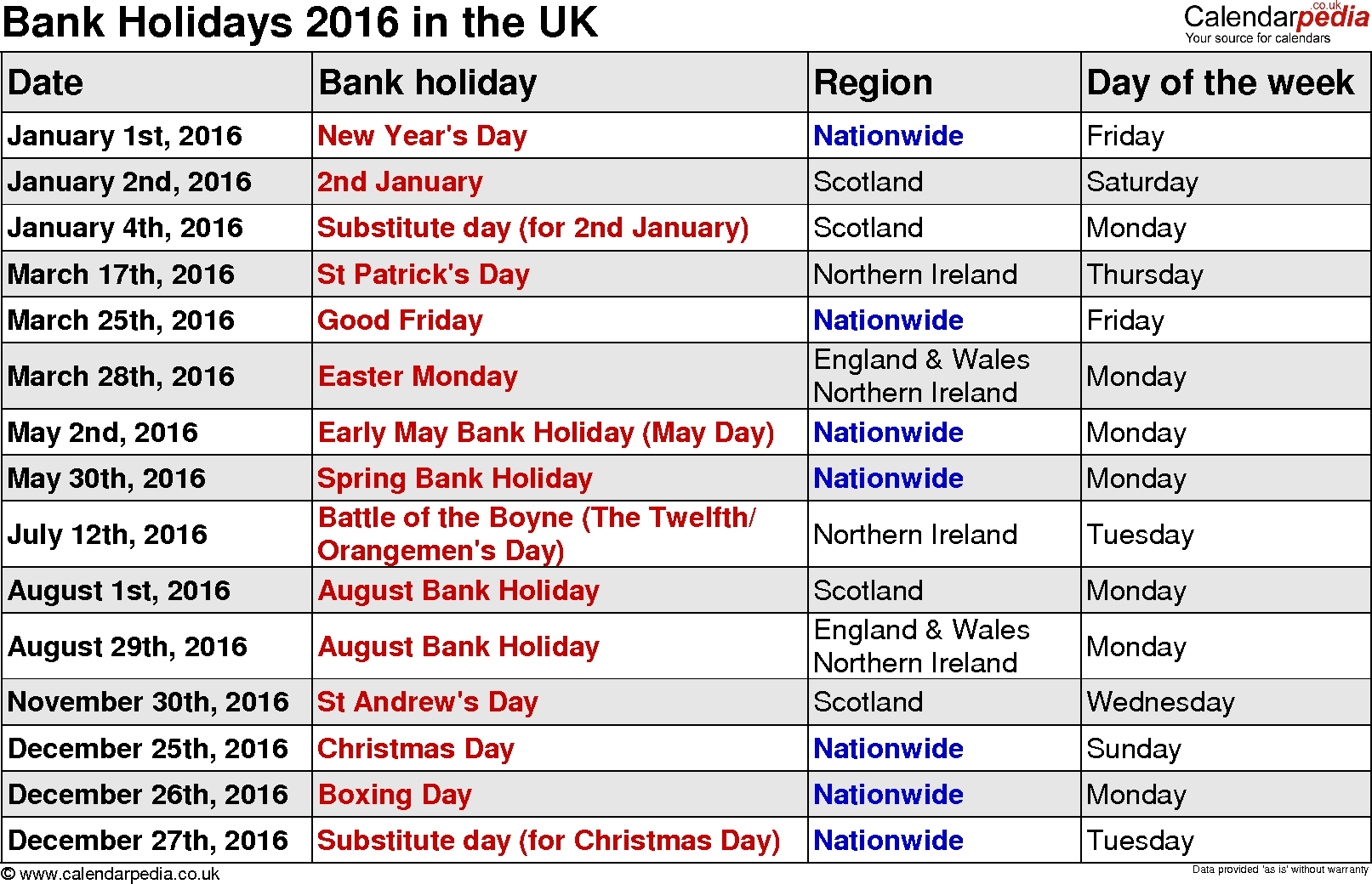 Bank Holidays 2016 In The Uk Calendar Holidays In Uk