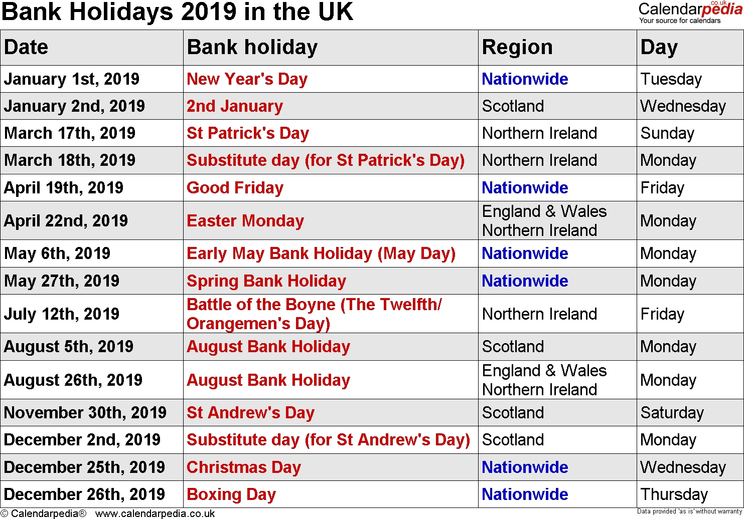 Bank Holidays 2019 In The Uk Calendar Holidays In Uk