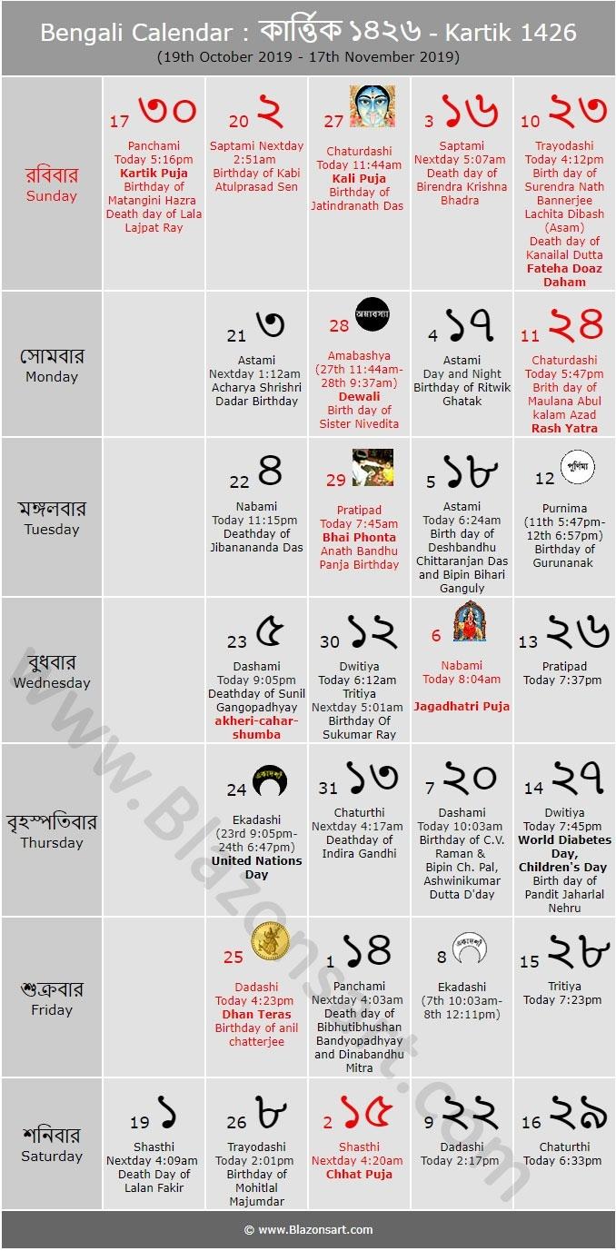 Bengali Calendar - Kartik 1426 : বাংলা কালেন্ডার 2020 Ka Calendar Hindi Mai