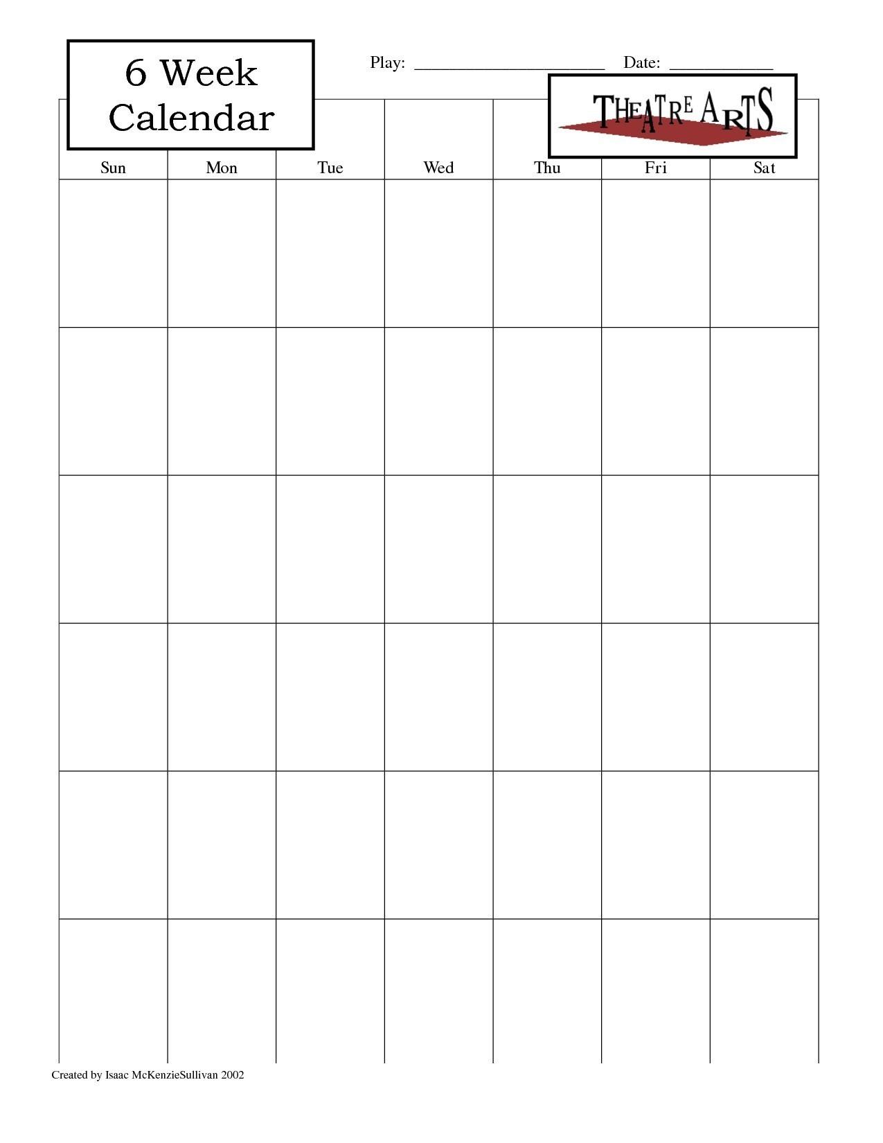 Blank 6 Week Calendar | Thekpark-Hadong 6 Week Blank Calendar Template