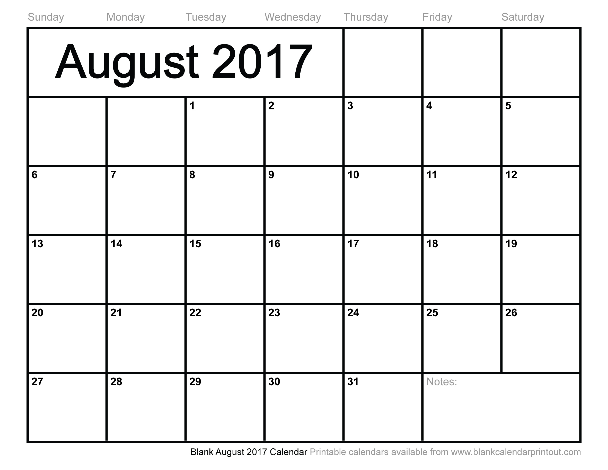 Blank August 2017 Calendar To Print Calendar Blank To Print