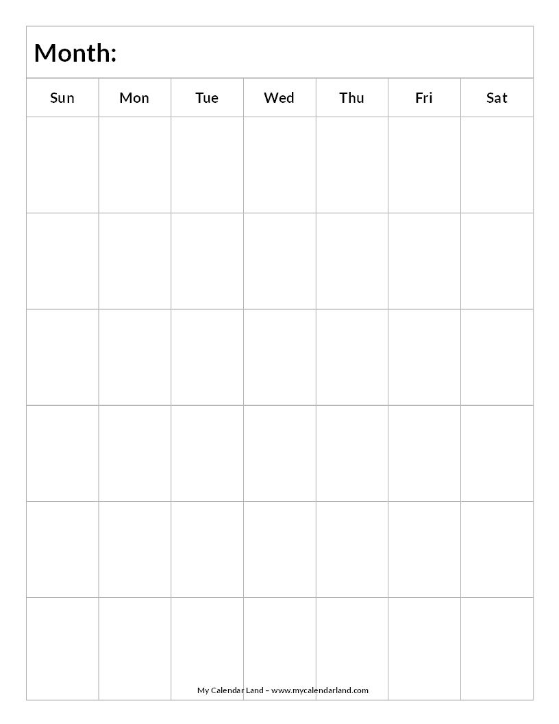 Blank-Calendar-6-Weeks-Portrait-C … | Everything Else.for Now 6 Week Blank Calendar Printable
