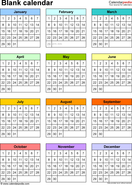 Blank Calendar - 9 Free Printable Pdf Templates 5 Year Monthly Calendar