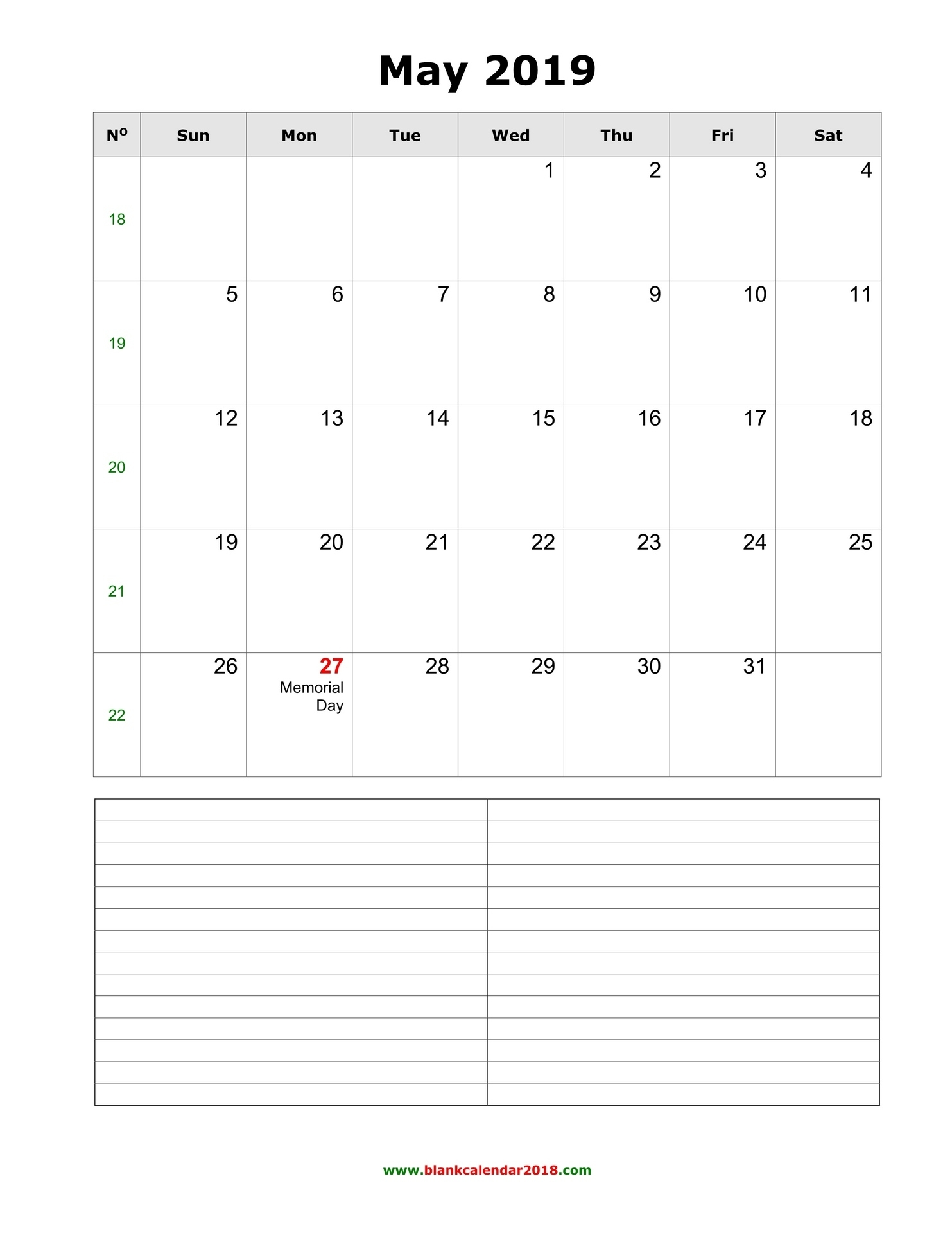 Blank Calendar For May 2019 Calendar Template With Room For Notes
