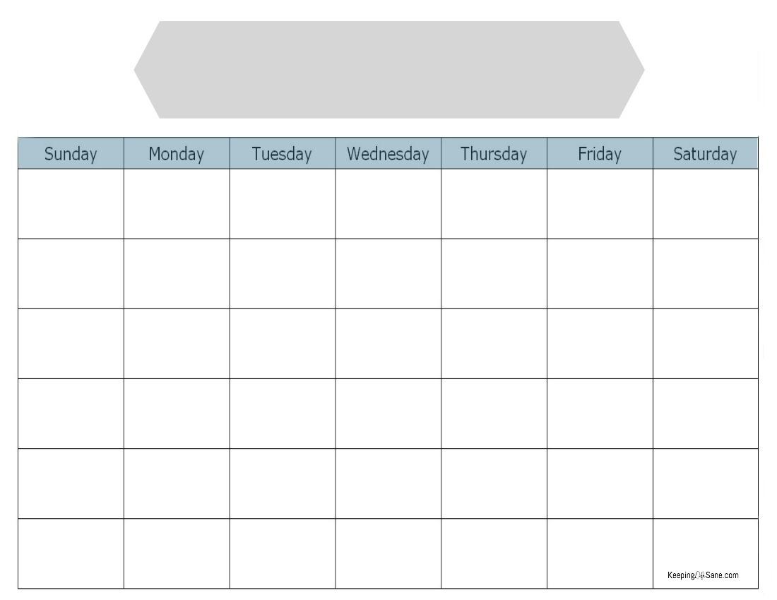 Blank Calendar To Print - Keeping Life Sane Calendar Blank To Print