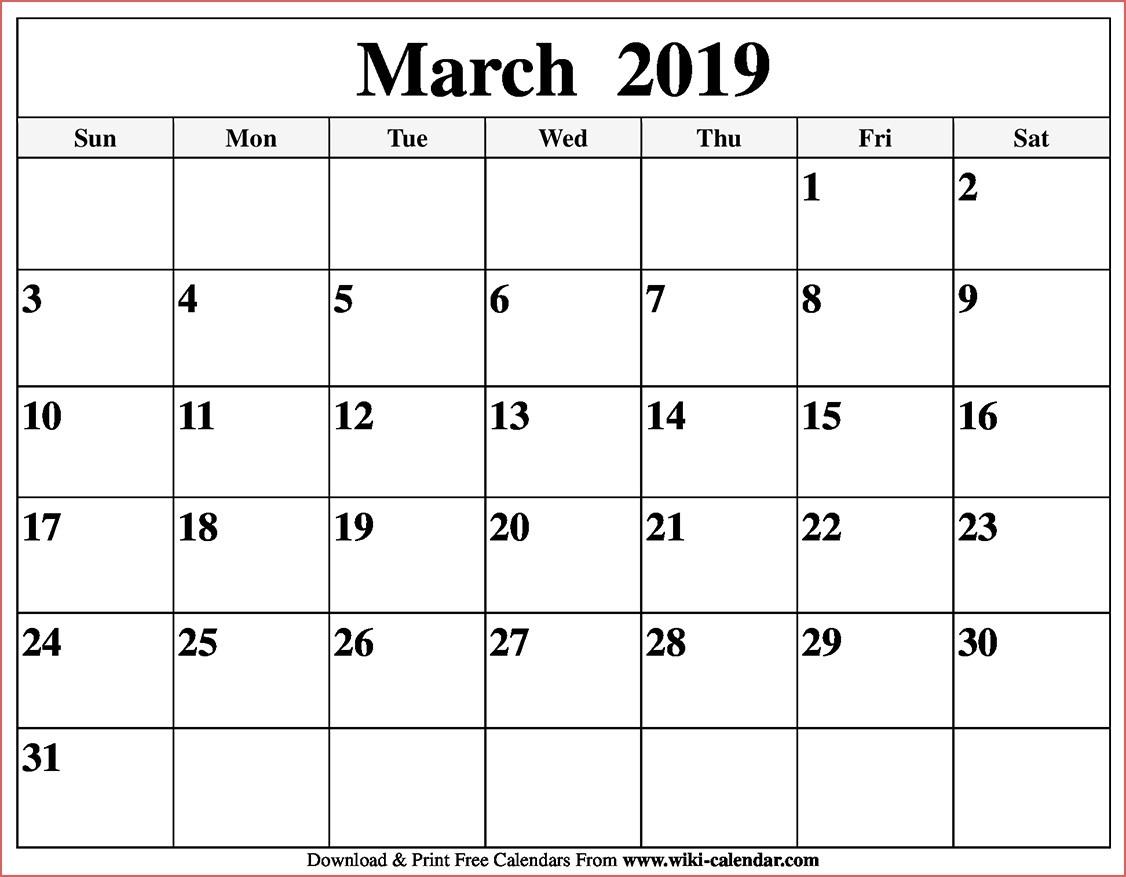Blank March 2019 Calendar Printable Free Printable Calendar 2019 By Free Printable Calendar By Month