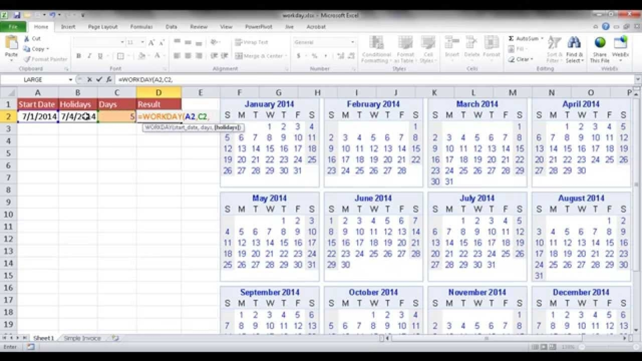 Calculate An End Date Based On Business Days - Youtube Calendar Countdown Excluding Weekends