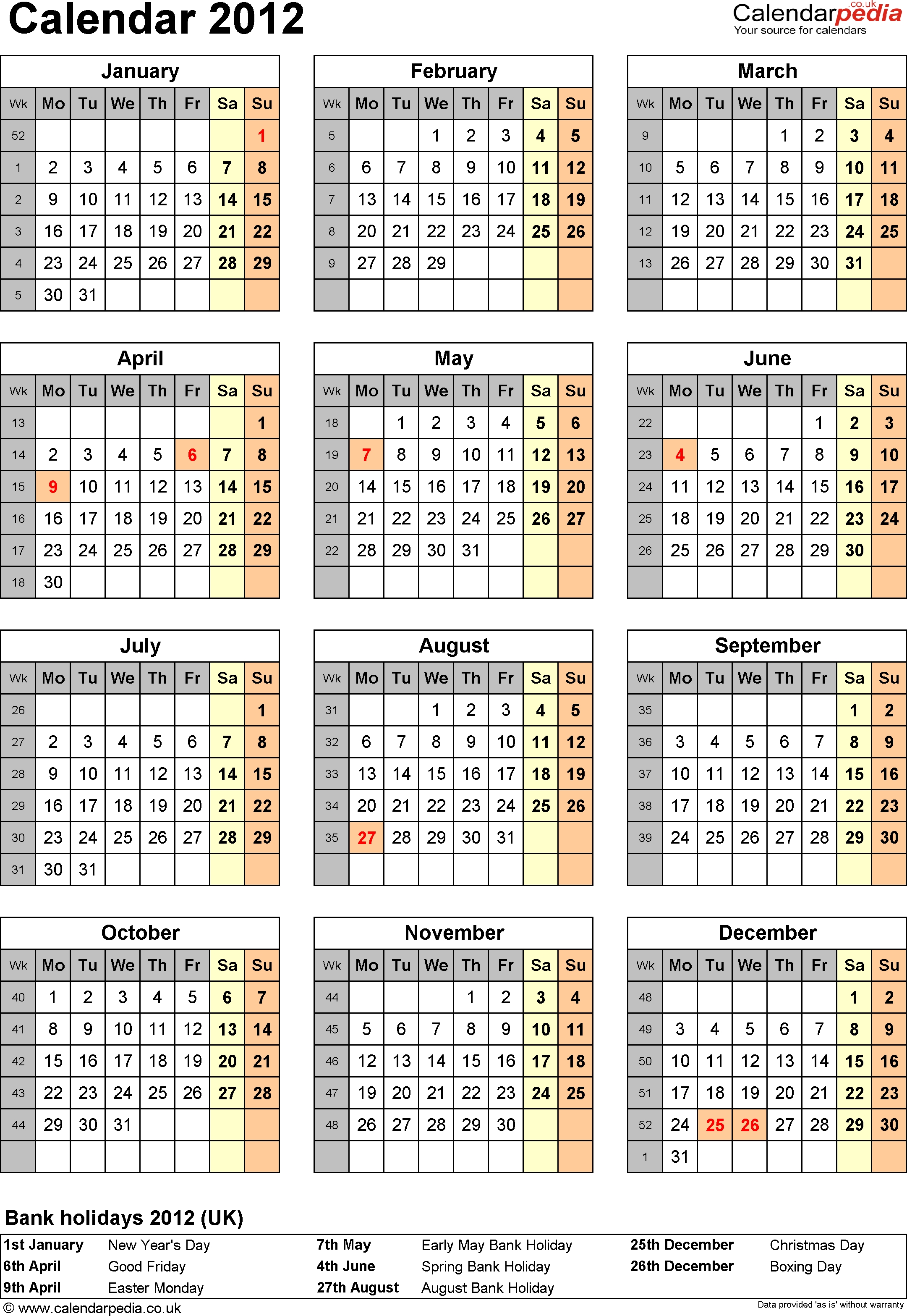 Calendar 2012 Uk With Bank Holidays And Week Numbers Calendar Holidays In Uk