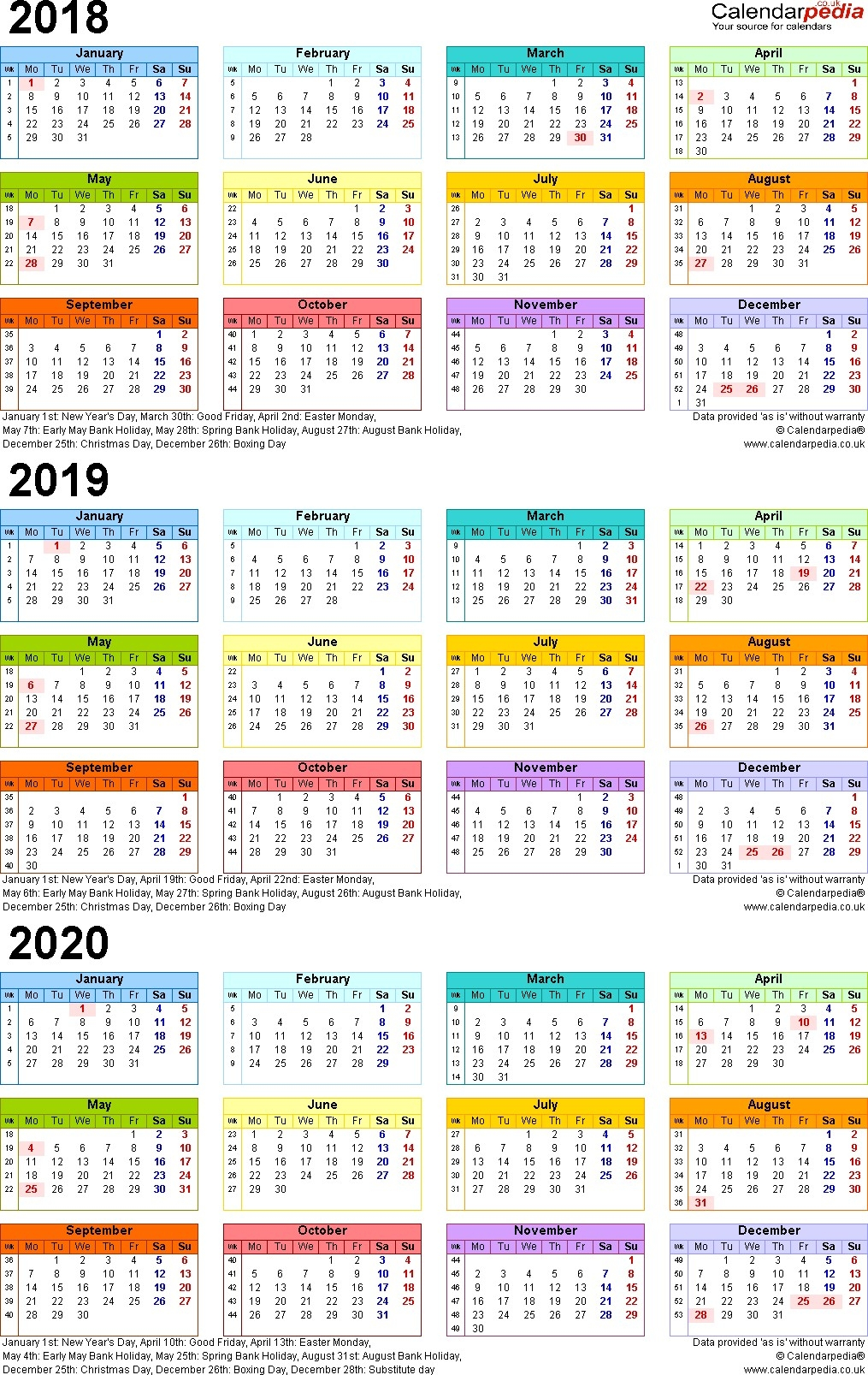 Calendar 2018 2019 2020 P 3 Year 2017 To | Jcreview Impressive 3 Year Calendar 2020