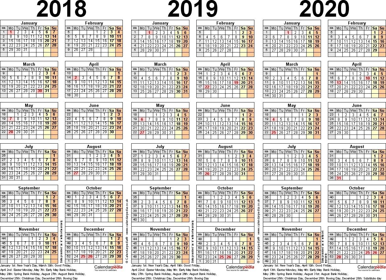 Calendar 2018 2019 2020 Printable In 3 Year Calendar Template - Free 3 Year Calendar 2020