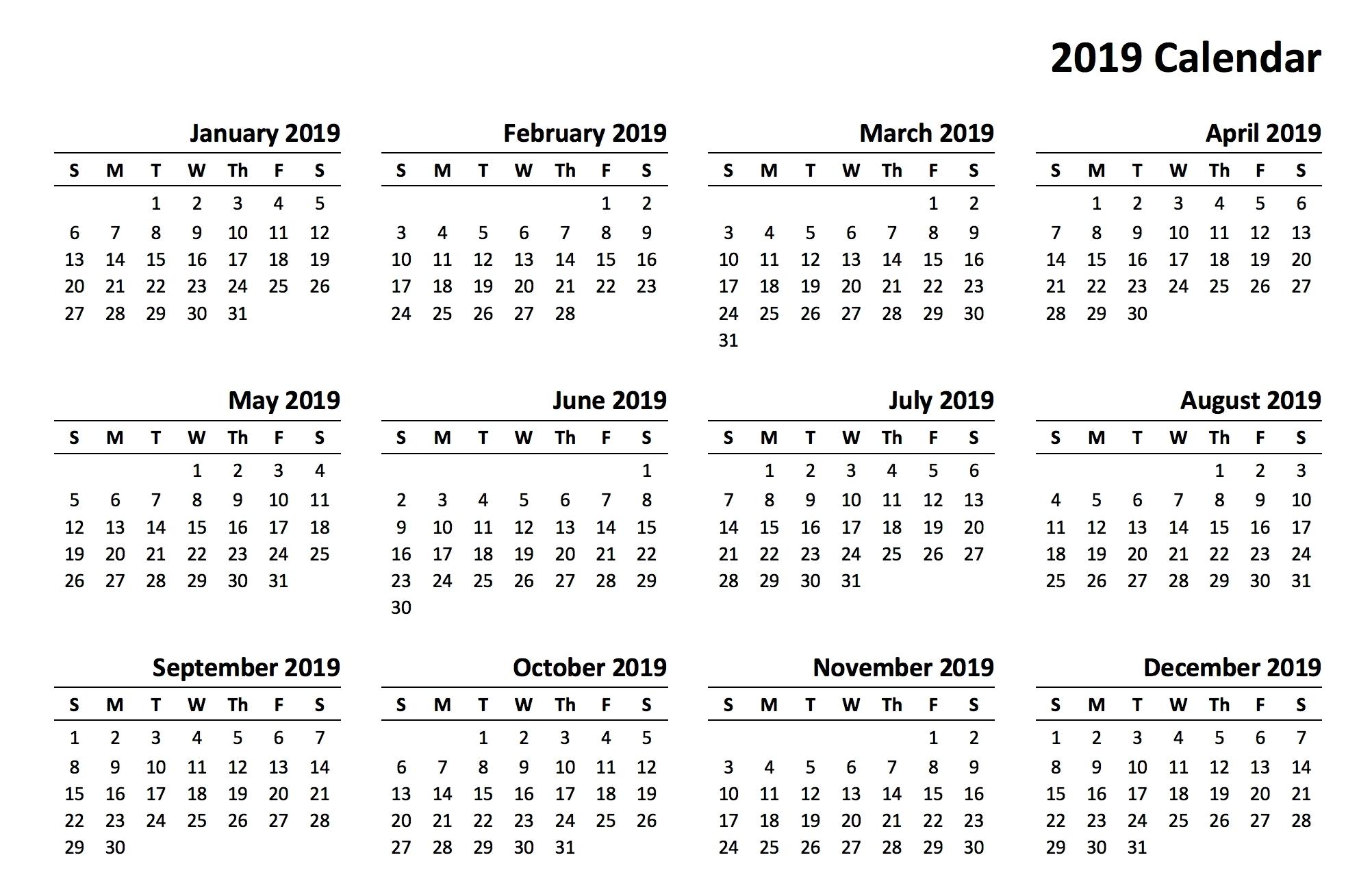 Calendar 2019 Printing Online • Printable Blank Calendar Template Online Calendar Printing With Photos