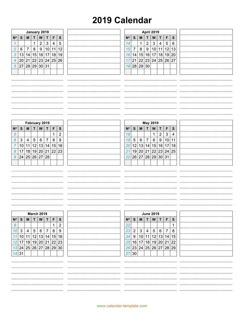 Calendar 2019 Template Six Months Per Page Calendar 6 Month View