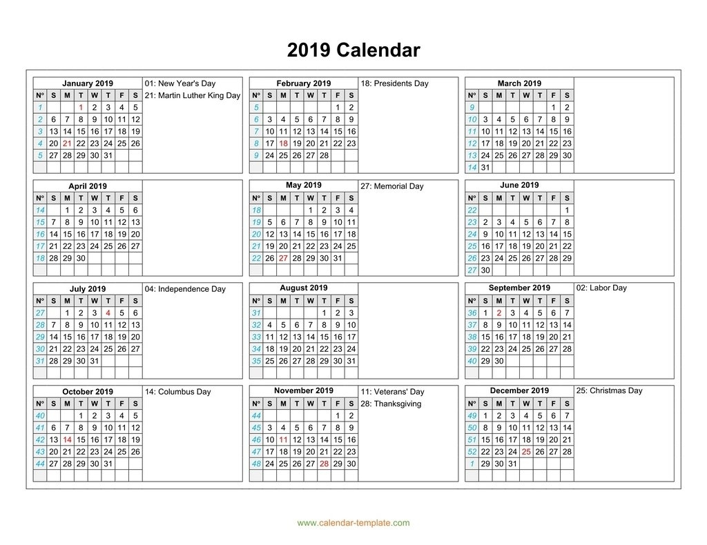 Calendar 2019 With Months In Columns Calendar 6 Month View