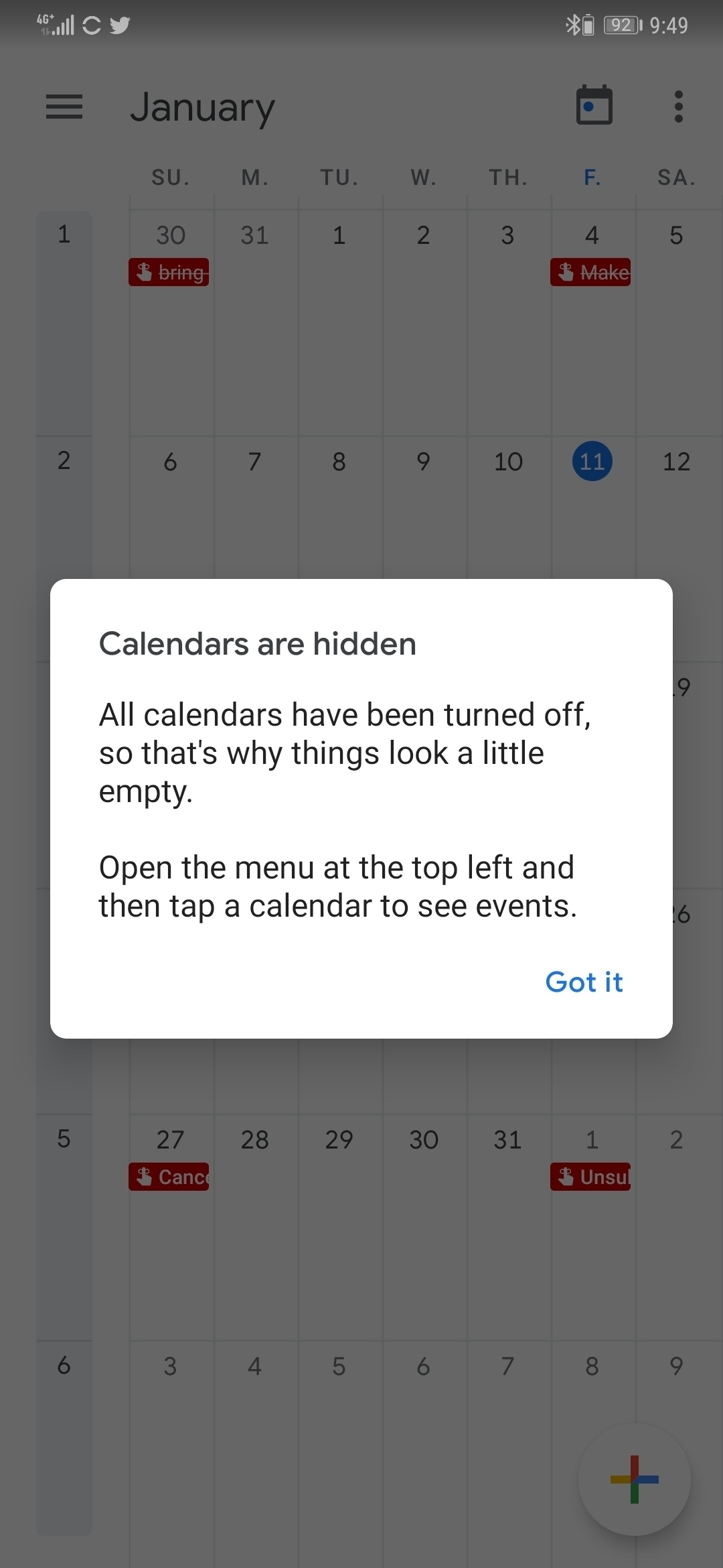 Calendar Account Gone Missing Intermittently. | Official Huawei Google Calendar Holidays Missing