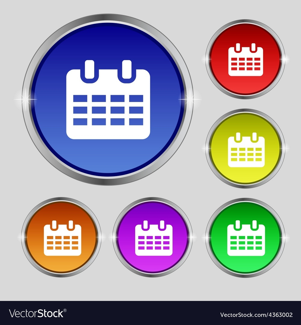 Calendar Date Or Event Reminder Icon Sign Round Vector Image Calendar Date Event Icon