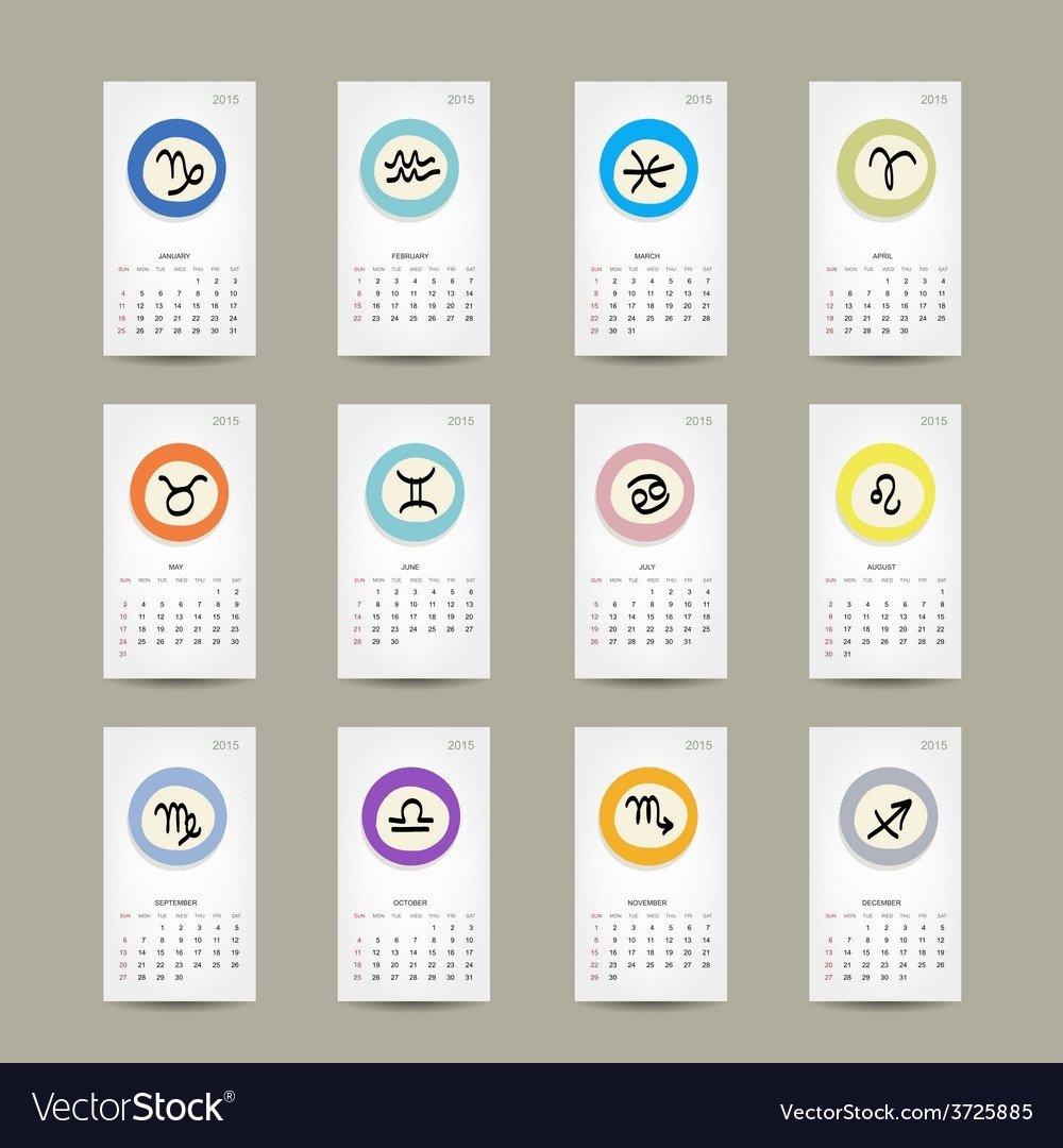 Calendar Grid 2015 Zodiac Signs Design Royalty Free Vector Calendar With Zodiac Signs