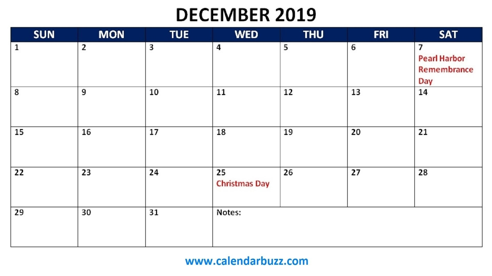 Calendar Holidays December 2019 • Printable Blank Calendar Template Calendar Holidays In December