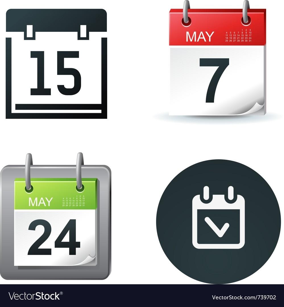Calendar Icons Royalty Free Vector Image - Vectorstock Calendar Icon Free Vector