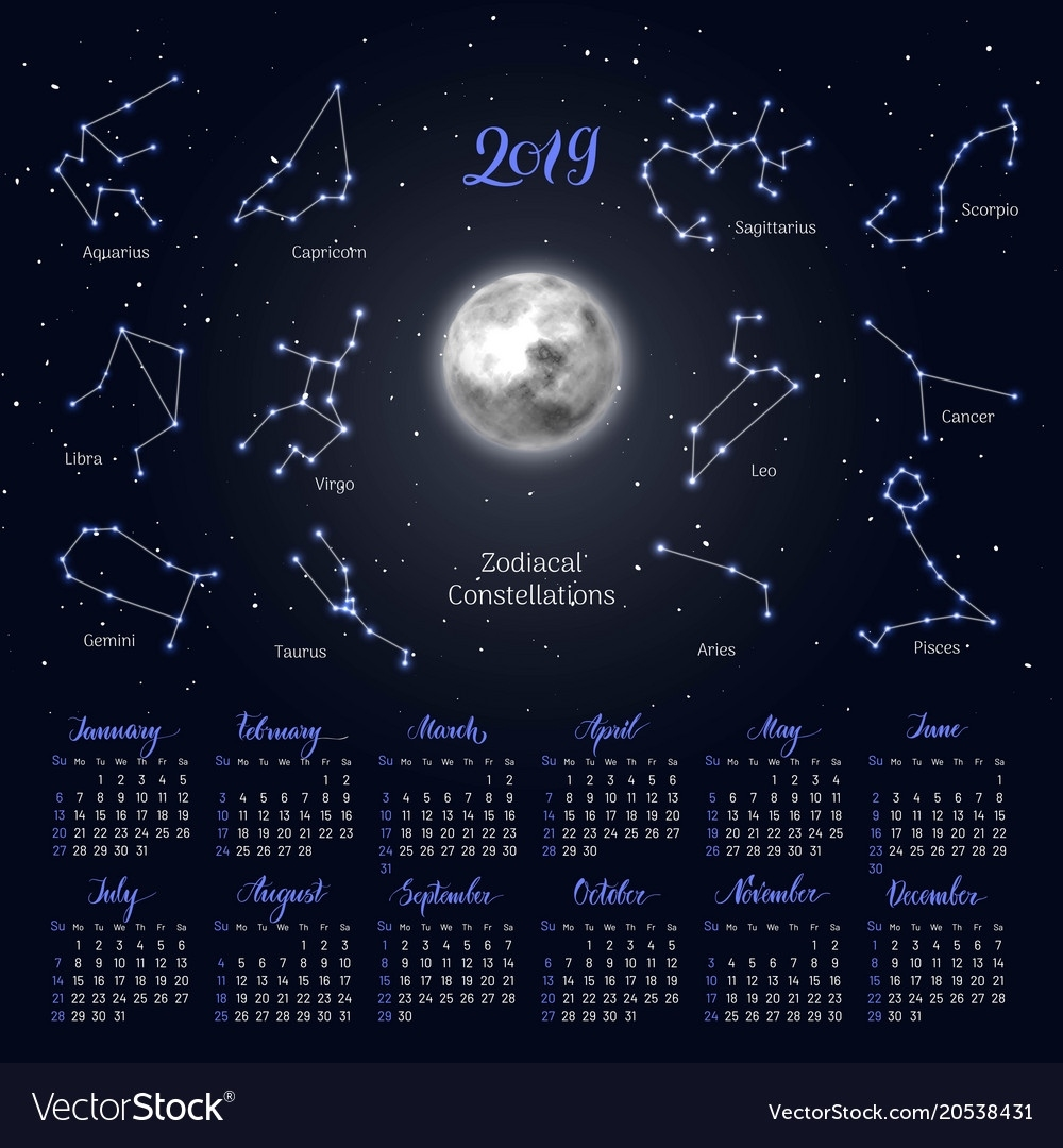 Calendar Moon Zodiac Constellations 2019 Night Vector Image Lunar Calendar With Zodiac