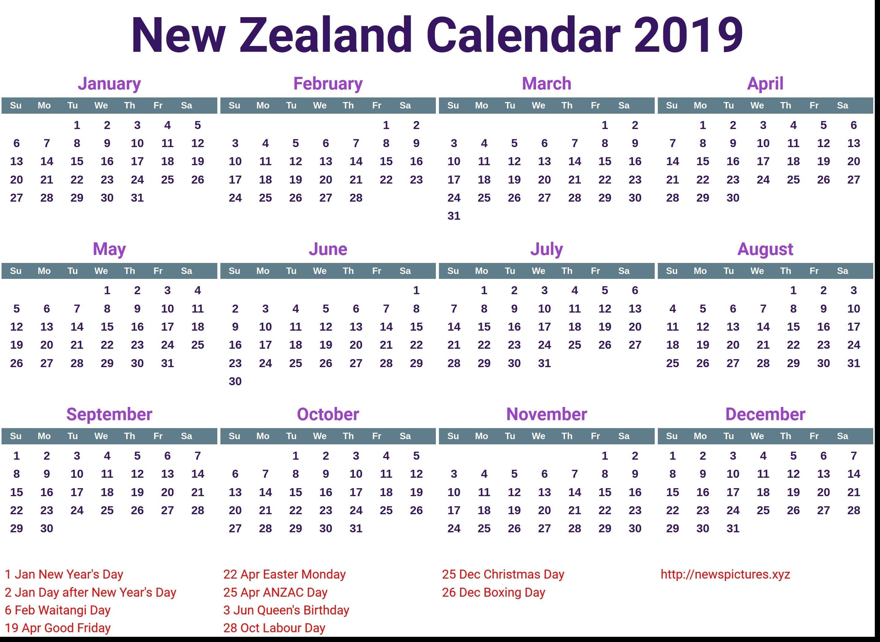 Calendar Nz Holidays 2019 • Printable Blank Calendar Template 2020 Calendar Nz Public Holidays