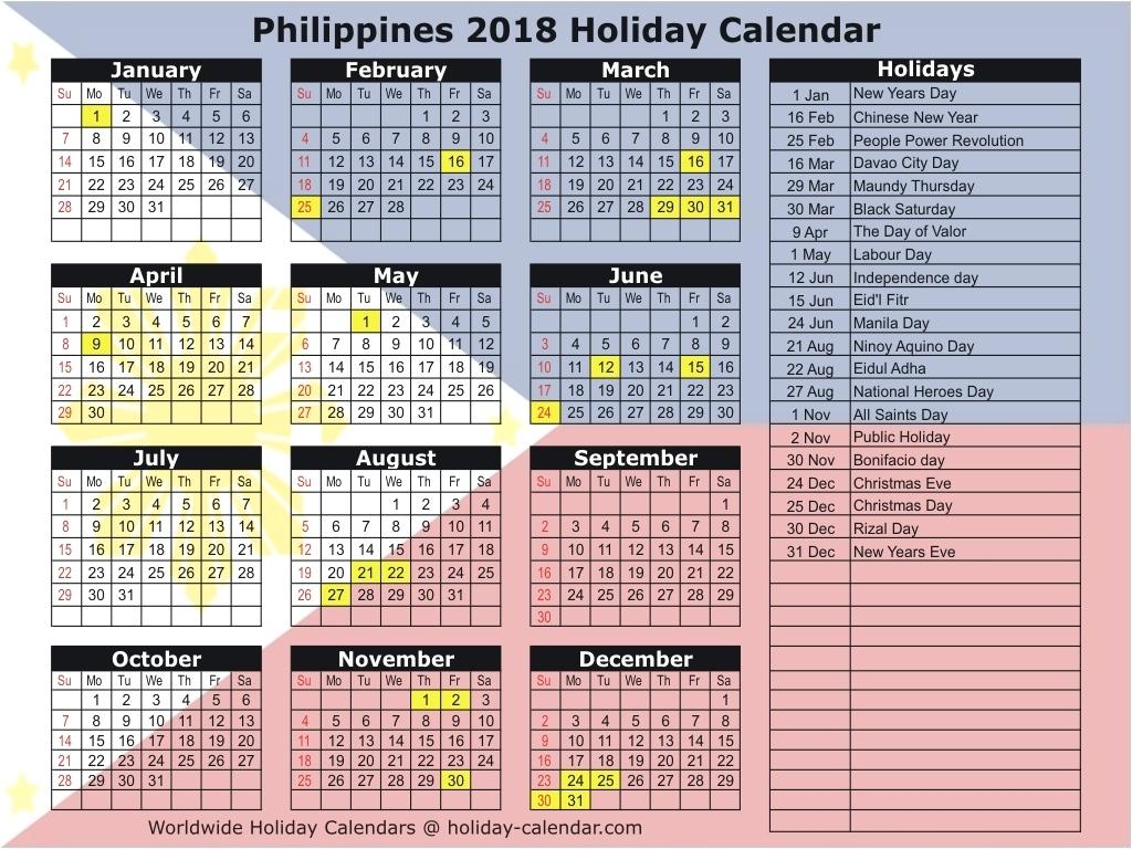Calendar Public Holidays 2019 Philippines 2018 2019 Holiday Calendar Calendar Holidays In Philippines