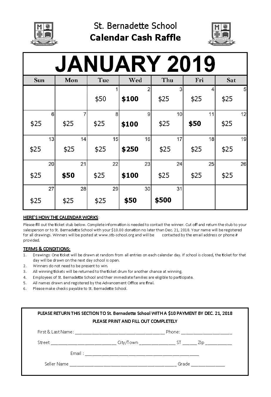 Calendar Raffle / Calendar Raffle Cash Calendar Raffle Template